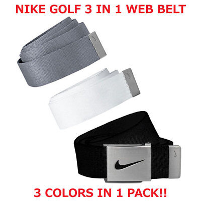 "Nike Golf Men's Web Belt 3 In 1 Pack Black/grey/white Osfa Up To 42"" New!! 18662"