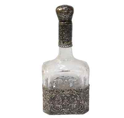 Antique Etched Glass Sterling Silver Overlay Decanter with Stopper