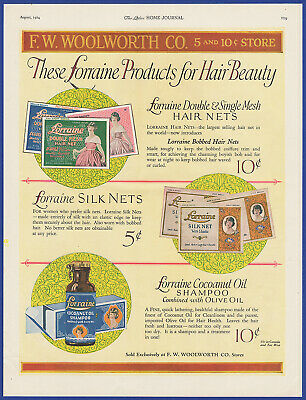 Vintage 1924 LORRAINE Hair Nets Shampoo F.W. WOOLWORTH CO. Store Print Ad 1920's