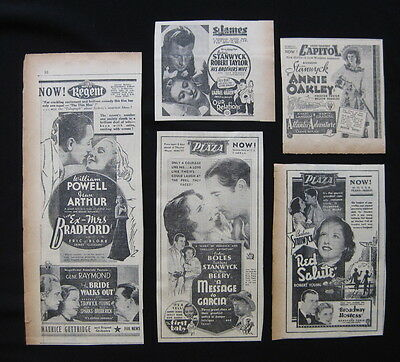 BARBARA STANWYCK 1936 Original movie advertising Annie Oakley Red Salute