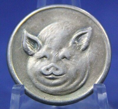 Vintage Pig Heads & Tails Sterling Silver Flipping Coin Token
