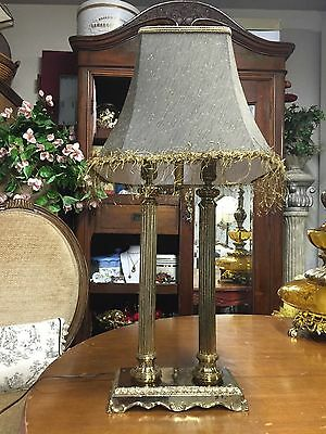 Vintage Bouillotte Table Lamp Brass Double Necked Light Footed New Shade