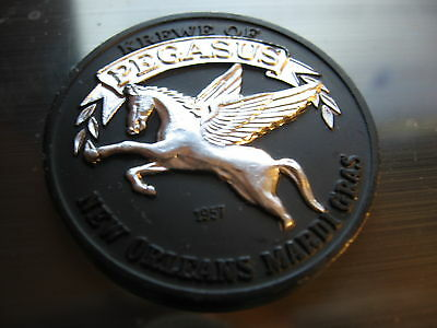 krewe pegasus 1973 black silver Dual Color High Relief Aluminum Doubloon