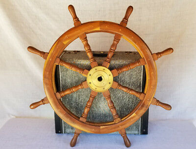 """32"""" Authentic 8 Spoke Wood and Brass Nautical Ship Wheel Plugged Brass Screws"""
