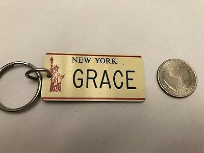 New York State License Plate Key Chain Grace