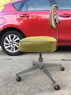 Vintage Steelcase Tanker Office Swivel Chair Bassick Caster Industrial Green