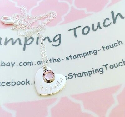 Personalised Hand Stamped Necklace - small Heart pendant With Swarovski Crystal