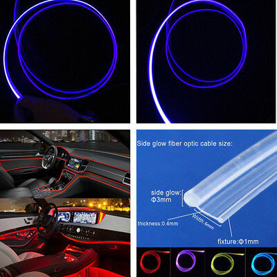 SIDE GLOW FIBER Optic Cable with Skirt Diameter 3mm *5m Car Interior Cable  Light