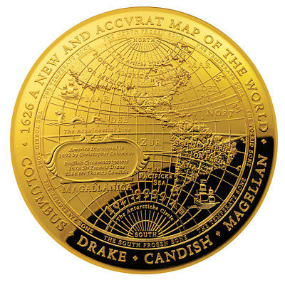1 oz Gold Neue Weltkarte - Map of the World 2018 PP - 100 Dollar Gold 999,9