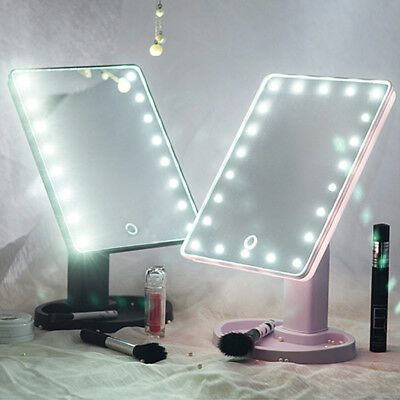 22 LED Schminkspiegel Kosmetikspiegel Make up Mit Licht Touch Screen Spiegel DE