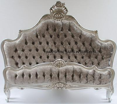 Silver Leaf 6Ft  Super King Bed W M Mercurycrushed Velvet Crystals French Style