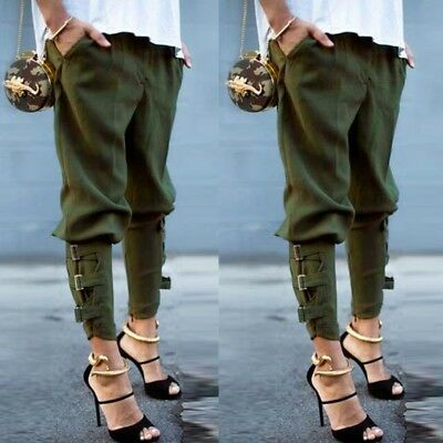 US STOCK Womens Elastic Waisted Military Casual Loose Long Trousers Harem Pants