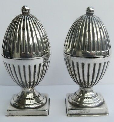 LOVELY PAIR OF VICTORIAN ENGLISH SILVER PEPPERETTES by T. HEATLY  c.1891