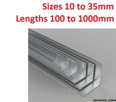 ALUMINIUM EQUAL ANGLE 10mm 13mm 16mm 19mm 22mm 25mm 29mm 32mm 35mm select size
