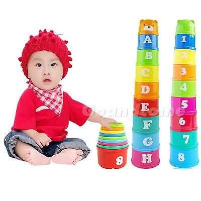 1 Set Baby Children Kids Educational Toy Figures Letters Folding Cup Pagoda sAL