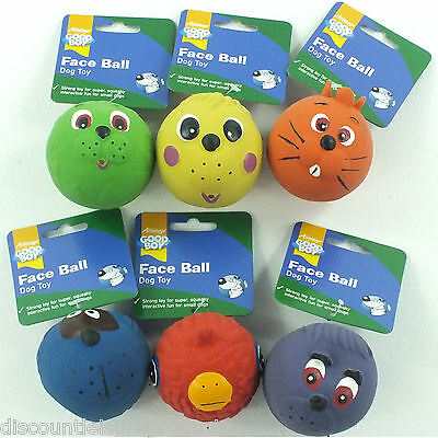 Good Boy Dog/Puppy Toy Latex Squeaky Face Ball Fetch Toy - Pack Of 6- 08785