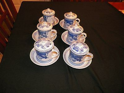 Vtg Chinese Mugs Lids Saucers Porcelain White Butterfly/Floral Williams Sonoma