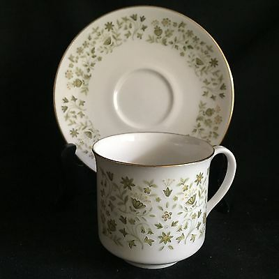Royal Doulton Westfield Cup and Saucer. Green Leaves and Gold Trim