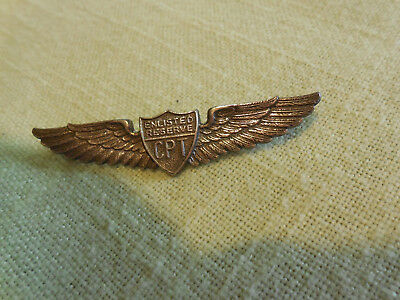 Original WWII CPT Enlisted Reserve Wings 2 1/2 Inch Danecraft Co Sterling Silver
