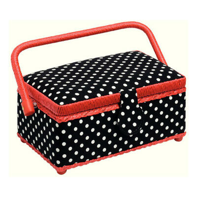 Prym 612244 | Black & White Polka Dot Print Sewing Basket | 24 x 16 x 11cm