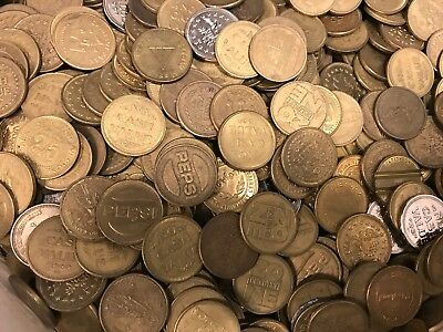 Lot Of 10 LBS - Mixed Assorted Brass Tokens (800-900 Tokens)