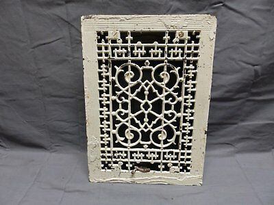 Antique Cast Iron Floor Wall Heat Grate 14x10 Louvres Victorian Design  327-18P