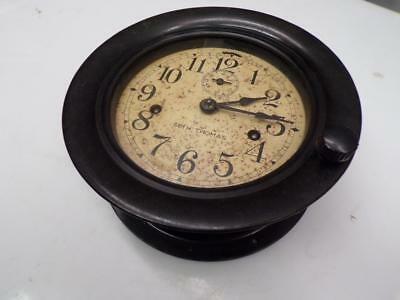 "USN US Navy WW2 7"" Seth Thomas Ship's Bulkhead Signal Clock Bakelite Case D486"