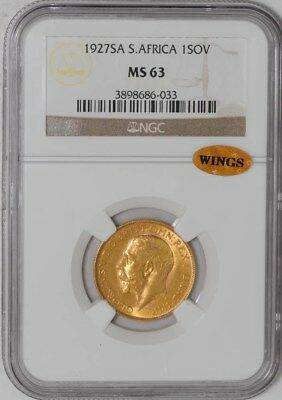 1927 South Africa Sovereign #3898686-033 MS63 NGC ~ WINGS