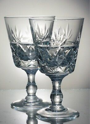 Pair of Signed Brierley 'Bruce' Cut Crystal Wine Glasses  12.5 cm - 135 ml