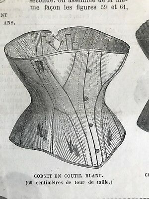 French MODE ILLUSTREE SEWING PATTERN July 7,1872 SPECIAL CORSETS
