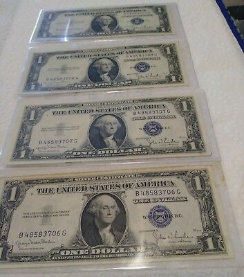 4) 1935-B $1 Silver Certificates- Consecutive Notes (A11) - $99.99 ...