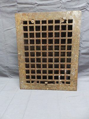 Antique Cast Iron Floor Heat Grate 14x11 Louvres Arts Crafts Vent Vtg 334-18P