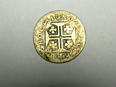 Scarce, Portugal, silver 50 reis, Maria and Peter III, 1777-86. KM 263.
