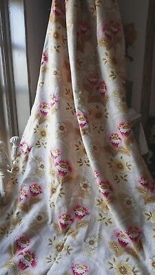"""19 C Antique French Fabric, Vintage Cotton Panel Home Furnishing 31"""" x 108"""" Rare"""