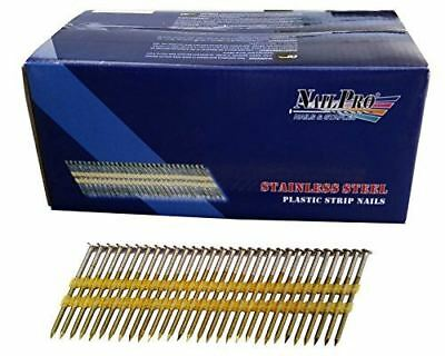 """NailPRO 3-1/4"""" x .120 21-Degree Stainless Steel Plastic Strip Nail, 1,000 pcs"""