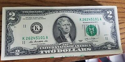 RARE CRISP 2013 UNCIRCULATED $2 BILL TWO DOLLAR NOTE  K Dallas Sequential order