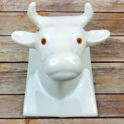 Vintage White Ceramic Bull Cow Head Wall Hook Towel Apron Hat Holder Horns