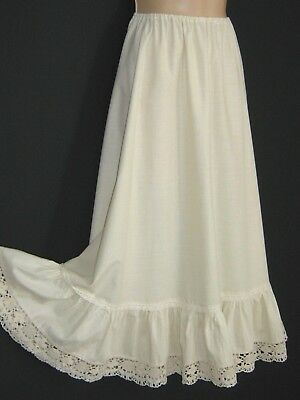 Laura Ashley Vintage Ivory Cotton Crochet Lace Petticoat / Underskirt, One Size