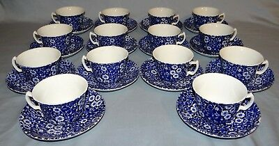 14 Sets of Vtg Staffordshire Burleigh CALICO Cups & Saucers Flow Blue Chintz