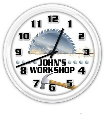 Workshop PERSONALIZED SILENT Wall Clock Man Cave Garage Wood Shop Tools Saw GIFT