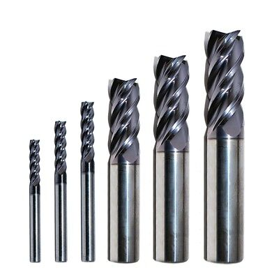 Carbide End Mill Set Sizes 1/8 - 1/2, RIP Cutting Tools 6-PC 4-Flute SE AlTiN HP