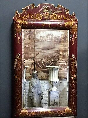 Exceptional Chinese Oriental Hand Painted Red & Gold Large Bevelled Wall Mirror