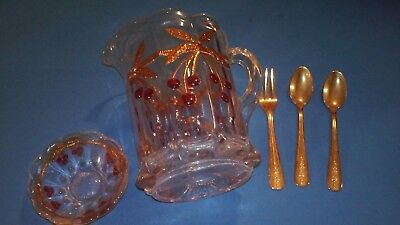 Vintage Mosser Childs Cherry Thumbprint Gilt Gold Pitcher Bowl 2 Spoons & Fork