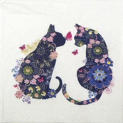 4x Paper Napkins for Decoupage Decopatch Craft Floral Cats