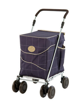 SHOLLEY Folding Shopping Trolley Holds up to 30Kg Rear Brakes in Mulberry Blue