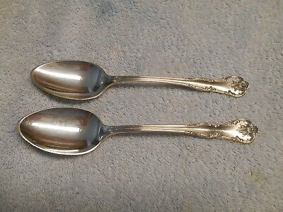 """Nice Pair of Lunt Chatelaine Sterling Silver 7 1/8"""" Oval Soup Spoons NO MONO"""