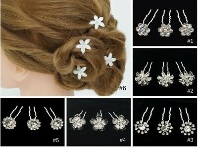 10PC Crystal Flower Bobby Hair Pins Wedding Updo Quinceanera Bridal Diamond Clip