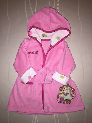 Carter's Just One You Girls Hooded Bath Robe Little Princess Monkey Pink Sz 0-9M