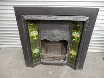 FIREPLACE – CAST IRON INNER – PERIOD STYLE GREEN TILES, 40c