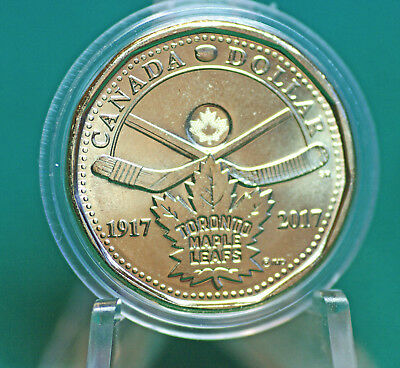 2017 Canada Toronto Maple leafs $1 loonie coin taken from mint roll